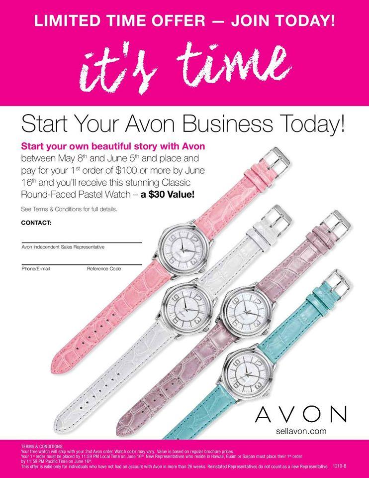 free watch, avon free, avon sell, avon new rep